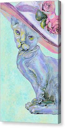 Sphinx In Pink Hat Canvas Print by Jane Schnetlage