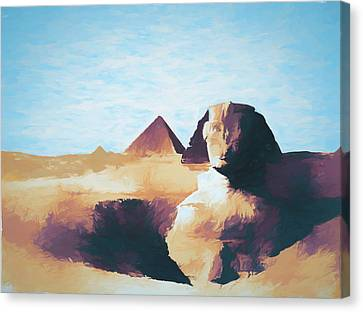 Sphinx And Pyramids Canvas Print