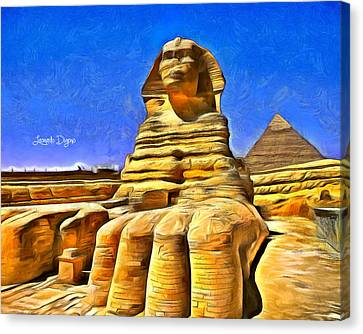 Sphinx  - Van Gogh Style -  - Da Canvas Print by Leonardo Digenio