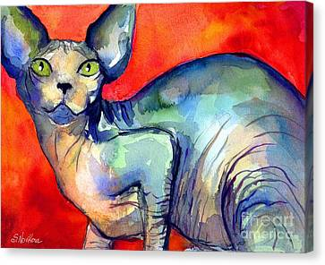 Watercolor Pet Portraits Canvas Print - Sphynx Cat 6 Painting by Svetlana Novikova