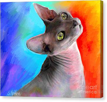 Portraits Of Cats Canvas Print - Sphynx Cat Painting by Svetlana Novikova