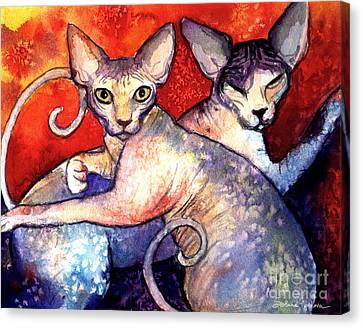 Pet Canvas Print - Sphynx Cats Sphinx Family Painting  by Svetlana Novikova
