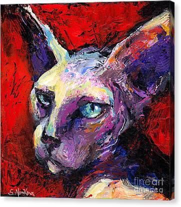 Sphynx Sphinx Cat Painting  Canvas Print by Svetlana Novikova
