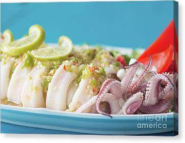 Canvas Print featuring the photograph Spicy Food, Steamed Squid by Atiketta Sangasaeng