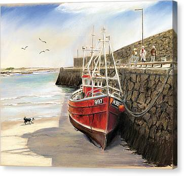 Spiddal Harbour Canvas Print by Vanda Luddy