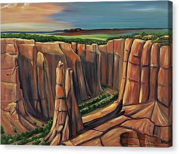 Spider Rock Canyon De Chelly Ar Canvas Print by George Chacon
