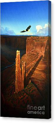 Eagle In Flight Canvas Print - Spider Rock Canyon De Chelly by Jerry Bokowski