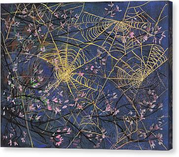 Spider Webs And Bloosoms Canvas Print by Ethel Vrana
