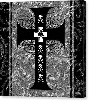 Spiderweb Skull Cross Canvas Print