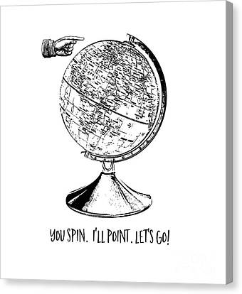 Spin The Globe Tee Canvas Print by Edward Fielding