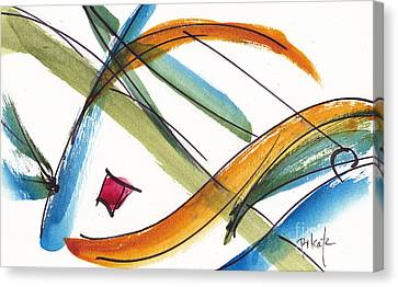 Red Green And Gold Abstracts Canvas Print - Spindle Back Abstract #2 by Pat Katz