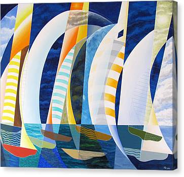Canvas Print featuring the painting Spinnakers Up by Douglas Pike