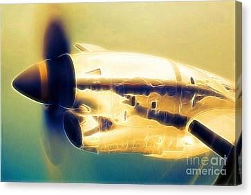 Spinning Propeller Pratt And Whitney Pw118a Turbo-prop In Flight Canvas Print by Wernher Krutein
