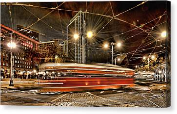 Canvas Print featuring the photograph Spinning Trolley Car by Steve Siri