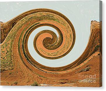 Canvas Print featuring the digital art Spiral Of Red Rock, Sand, And Sandstone  by Merton Allen