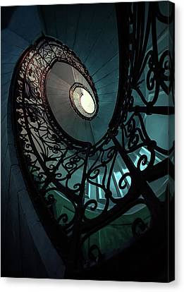Canvas Print featuring the photograph Spiral Ornamented Staircase In Blue And Green Tones by Jaroslaw Blaminsky