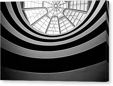 Spiral Staircase And Ceiling Inside The Guggenheim Canvas Print by Sami Sarkis