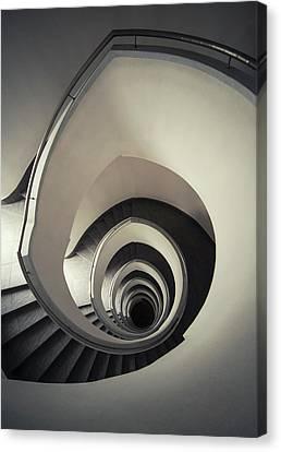 Spiral Staircase In Beige Tones Canvas Print by Jaroslaw Blaminsky