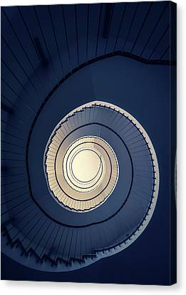 Spiral Staircase In Blue And Cream Tones Canvas Print by Jaroslaw Blaminsky