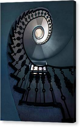 Spiral Staircase In Blue Colors Canvas Print by Jaroslaw Blaminsky