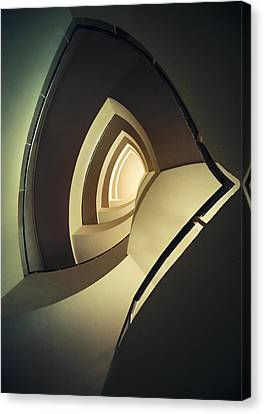 Spiral Staircase In Brown And Cream Colors Canvas Print