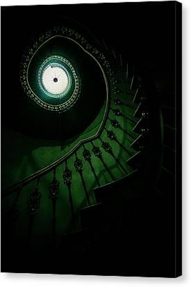 Spiral Staircase In Green Tones Canvas Print by Jaroslaw Blaminsky