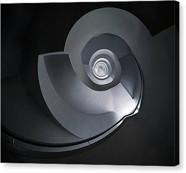 Canvas Print featuring the photograph Spiral Staircase In Grey And Blue Tones by Jaroslaw Blaminsky