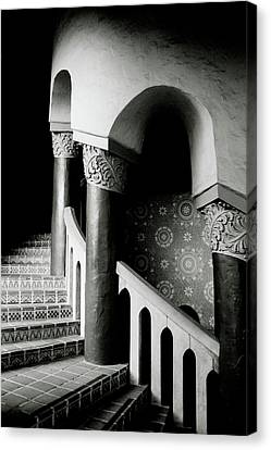 Canvas Print featuring the mixed media Spiral Stairs- Black And White Photo By Linda Woods by Linda Woods