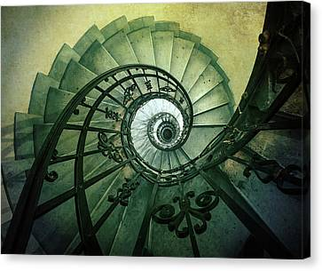 Canvas Print featuring the photograph Spiral Stairs In Green Tones by Jaroslaw Blaminsky