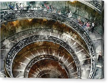 Spiral Stairs Of The Vatican Museum Canvas Print by Brandon Bourdages