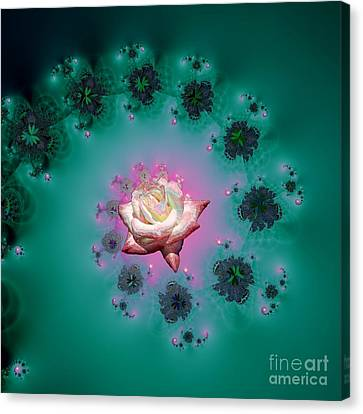 Spiral To A Rose Fractal 140 Canvas Print by Rose Santuci-Sofranko