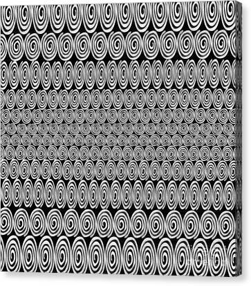 Geometric Artwork Canvas Print - Spirals Black And White - Abstract Painting by Edward Fielding