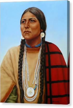 Spirit And Dignity-native American Woman Canvas Print by Margaret Stockdale