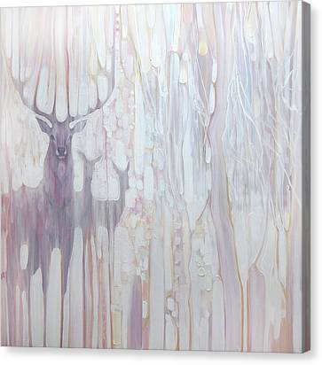 Spirit Guides - Deer In A Winter Forest Canvas Print