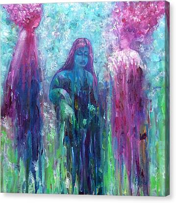 Canvas Print featuring the painting Spirit Guides Surround Us by Arlene Holtz