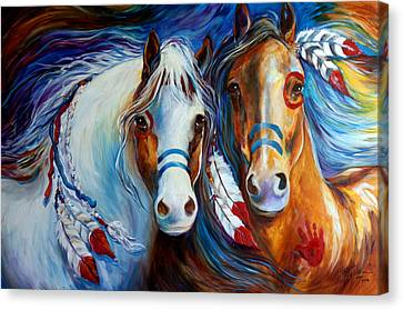 Canvas Print - Spirit Indian War Horses Commission by Marcia Baldwin