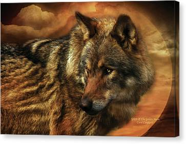 Wolves Canvas Print - Spirit Of The Golden Moon by Carol Cavalaris