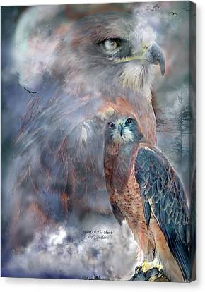 Spirit Of The Hawk Canvas Print by Carol Cavalaris