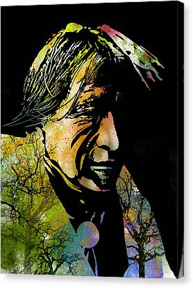 Native American Spirit Portrait Canvas Print - Spirit Of The Land by Paul Sachtleben