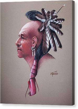 Native American Spirit Portrait Canvas Print - Spirit Of The Owl by Mahto Hogue