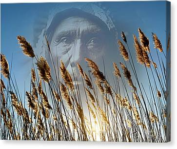 Native American Spirit Portrait Canvas Print - Spirit Of The Sun And Earth by Brian Wallace