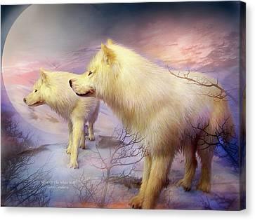 Spirit Of The White Wolf Canvas Print by Carol Cavalaris