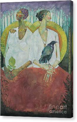 Native American Spirit Portrait Canvas Print - Spirit Weavers by Olivia Pendergast