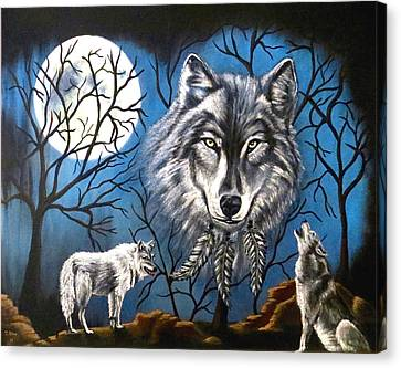Canvas Print featuring the painting Spirit Wolf by Teresa Wing