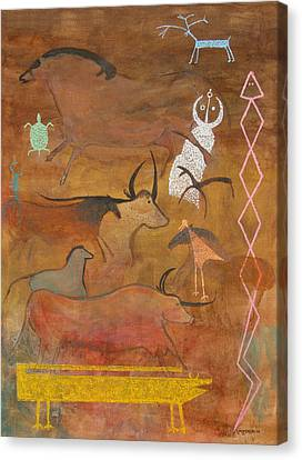 Canvas Print featuring the painting Spirits- Souls Of All Living by Mordecai Colodner