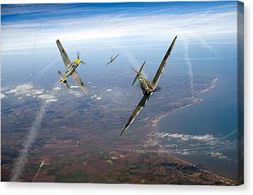 Spitfire And Bf 109 In Battle Of Britain Duel  Canvas Print by Gary Eason