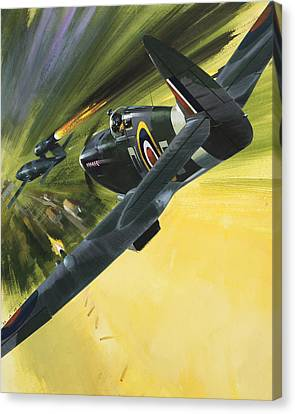 Spitfire And Doodle Bug Canvas Print by Wilf Hardy