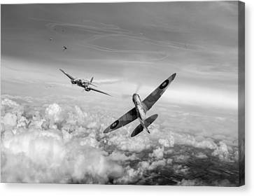 Spitfire Attacking Heinkel Bomber Black And White Version Canvas Print by Gary Eason