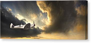 Threatened Canvas Print - Spitfire by Meirion Matthias