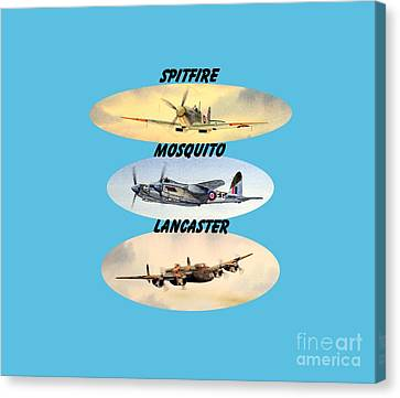 Canvas Print featuring the painting Spitfire Mosquito Lancaster Aircraft With Name Banners by Bill Holkham